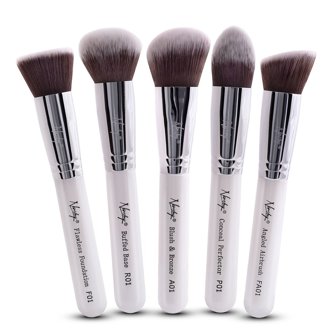 Nanshy Gobsmack Glamorous 5 Piece Brush Collection - White